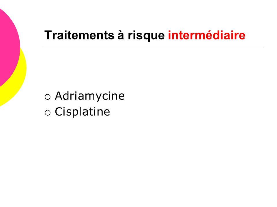 Traitements à risque intermédiaire  Adriamycine  Cisplatine