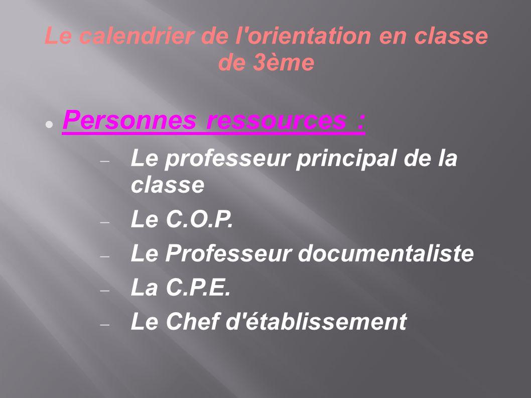 Le calendrier de l'orientation en classe de 3ème  Personnes ressources :  Le professeur principal de la classe  Le C.O.P.  Le Professeur documenta