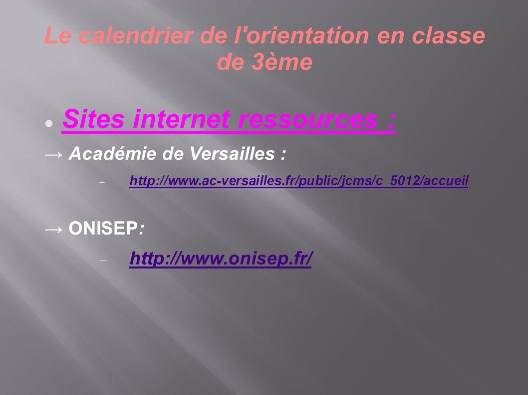 Le calendrier de l'orientation en classe de 3ème  Sites internet ressources : → Académie de Versailles :  http://www.ac-versailles.fr/public/jcms/c_