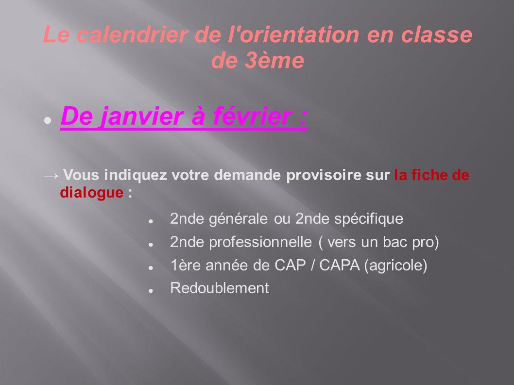 Le calendrier de l'orientation en classe de 3ème  De janvier à février : → Vous indiquez votre demande provisoire sur la fiche de dialogue :  2nde g