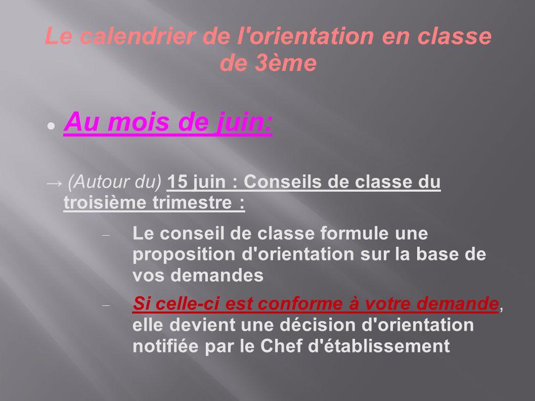  Au mois de juin: → (Autour du) 15 juin : Conseils de classe du troisième trimestre :  Le conseil de classe formule une proposition d'orientation su