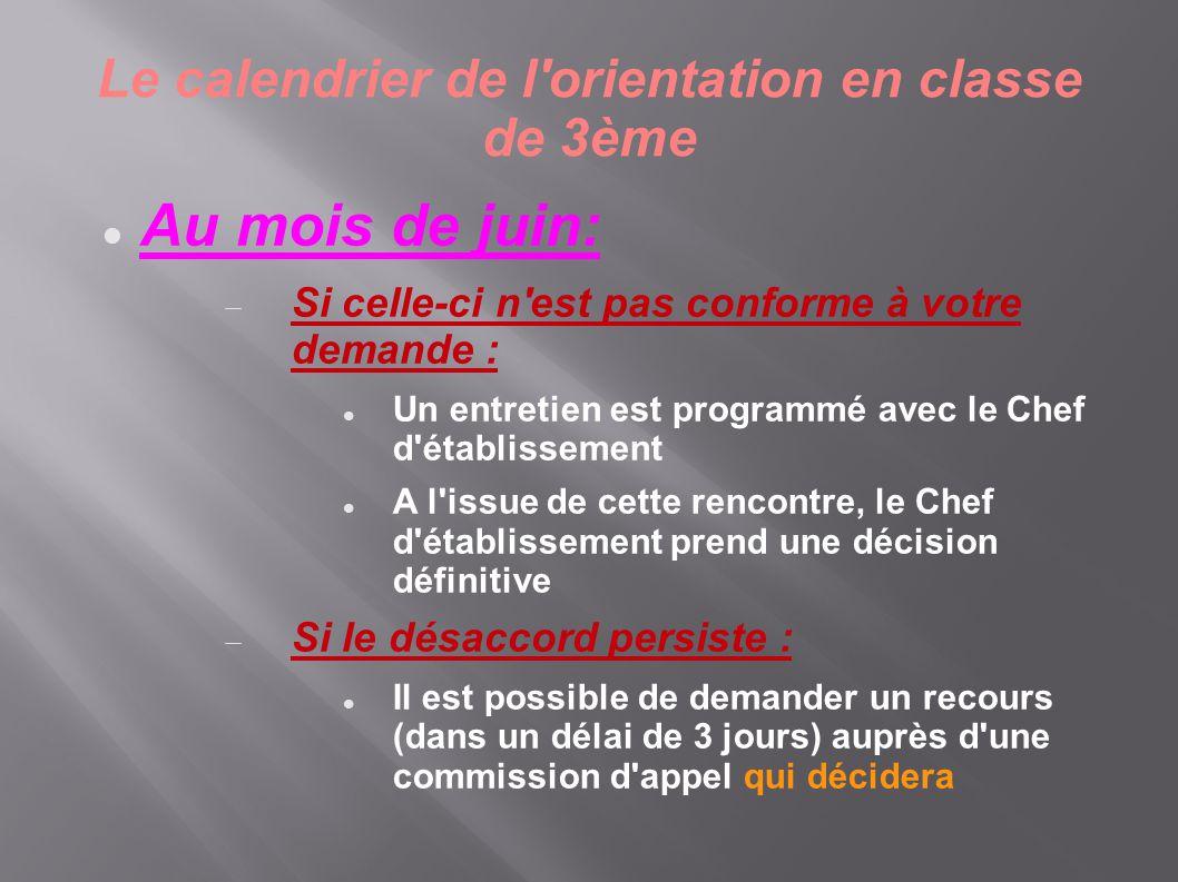 Le calendrier de l'orientation en classe de 3ème  Au mois de juin:  Si celle-ci n'est pas conforme à votre demande :  Un entretien est programmé av