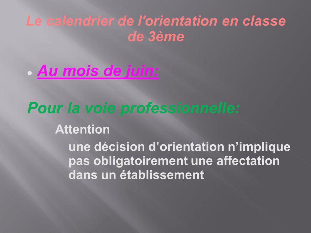 Le calendrier de l'orientation en classe de 3ème  Au mois de juin: Pour la voie professionnelle: Attention une décision d'orientation n'implique pas