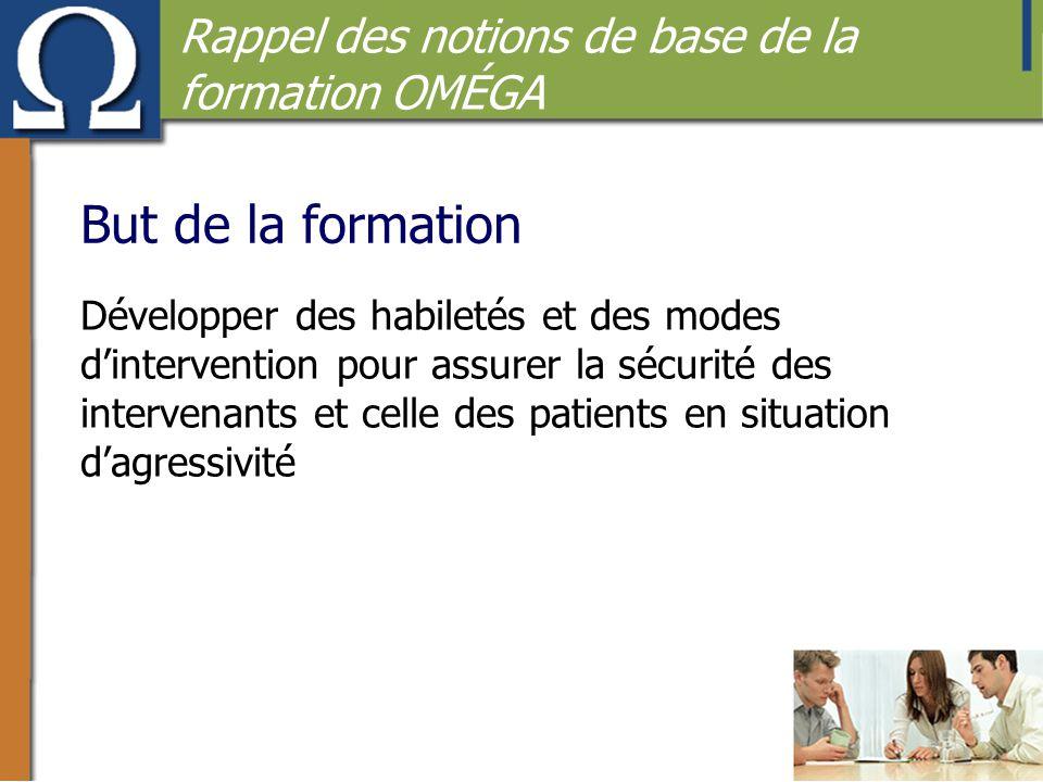 But de la formation Développer des habiletés et des modes d'intervention pour assurer la sécurité des intervenants et celle des patients en situation