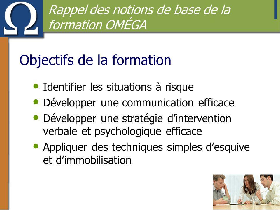Objectifs de la formation • Identifier les situations à risque • Développer une communication efficace • Développer une stratégie d'intervention verba