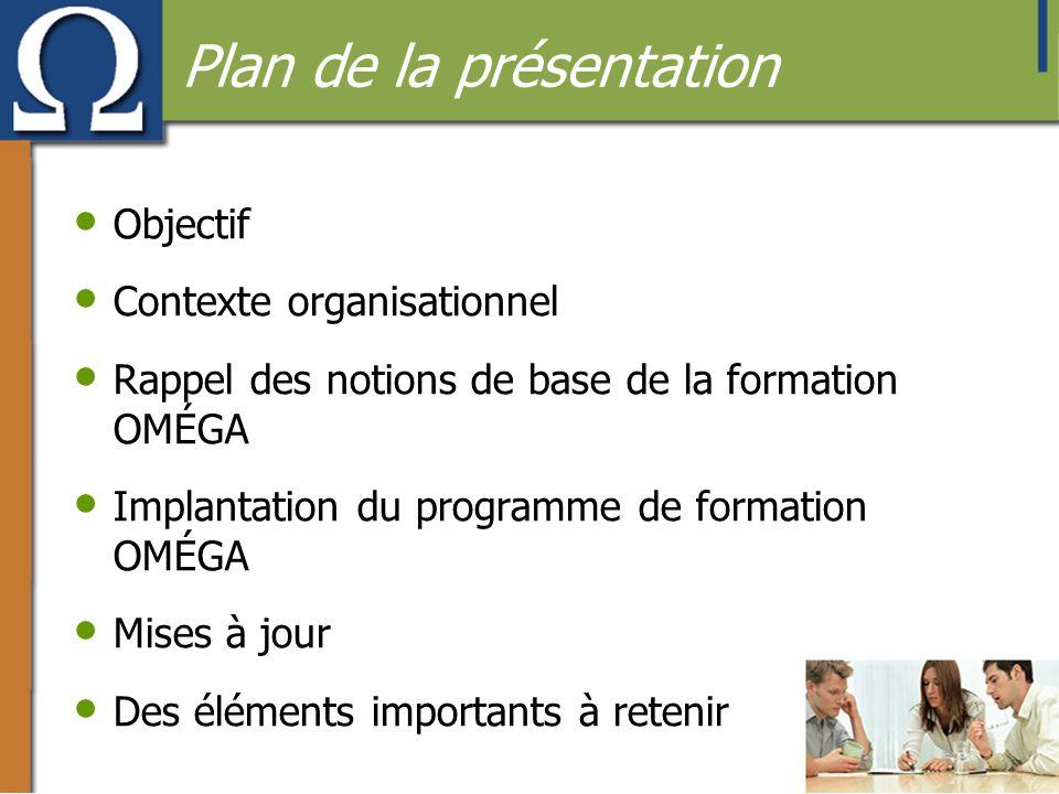 Plan de la présentation • Objectif • Contexte organisationnel • Rappel des notions de base de la formation OMÉGA • Implantation du programme de format