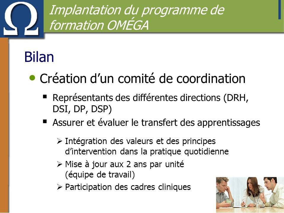 • Création d'un comité de coordination  Représentants des différentes directions (DRH, DSI, DP, DSP)  Assurer et évaluer le transfert des apprentiss