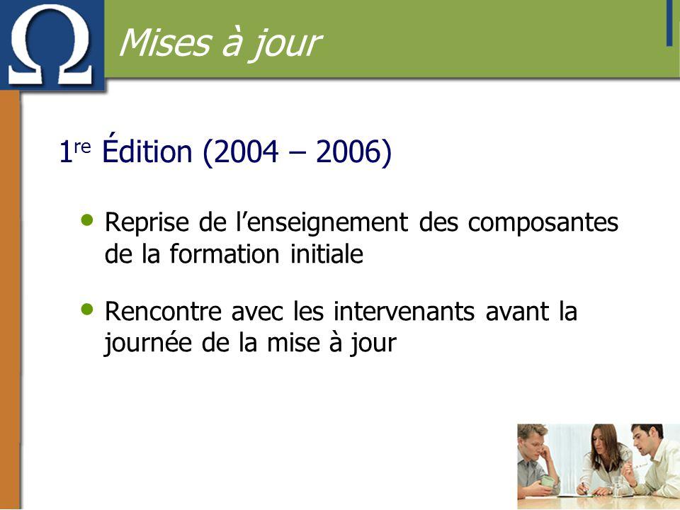 1 re Édition (2004 – 2006) • Reprise de l'enseignement des composantes de la formation initiale • Rencontre avec les intervenants avant la journée de