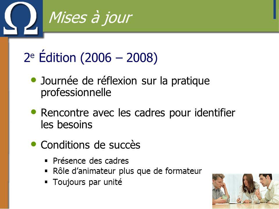 2 e Édition (2006 – 2008) • Journée de réflexion sur la pratique professionnelle • Rencontre avec les cadres pour identifier les besoins • Conditions
