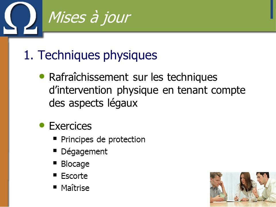 1. Techniques physiques • Rafraîchissement sur les techniques d'intervention physique en tenant compte des aspects légaux • Exercices  Principes de p