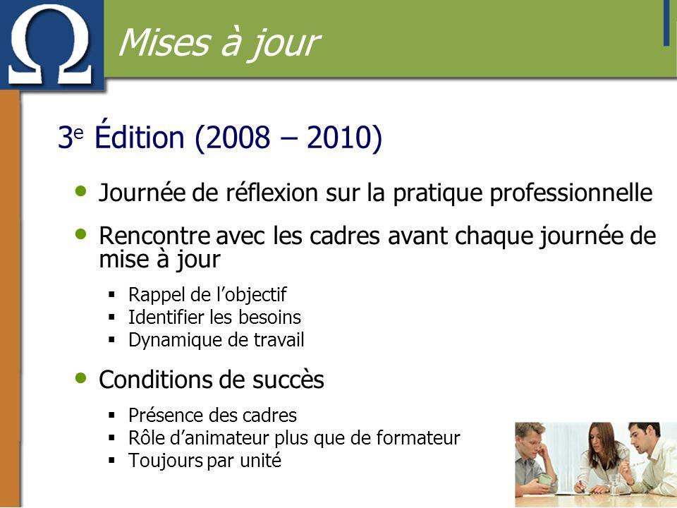 3 e Édition (2008 – 2010) • Journée de réflexion sur la pratique professionnelle • Rencontre avec les cadres avant chaque journée de mise à jour  Rap