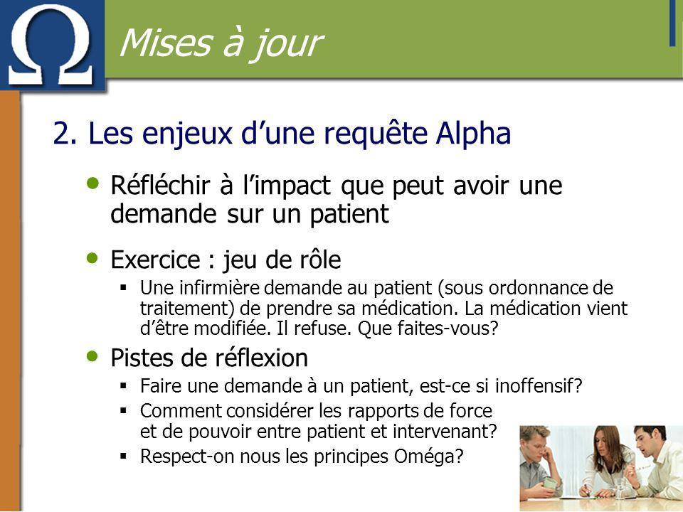 2. Les enjeux d'une requête Alpha • Réfléchir à l'impact que peut avoir une demande sur un patient • Exercice : jeu de rôle  Une infirmière demande a