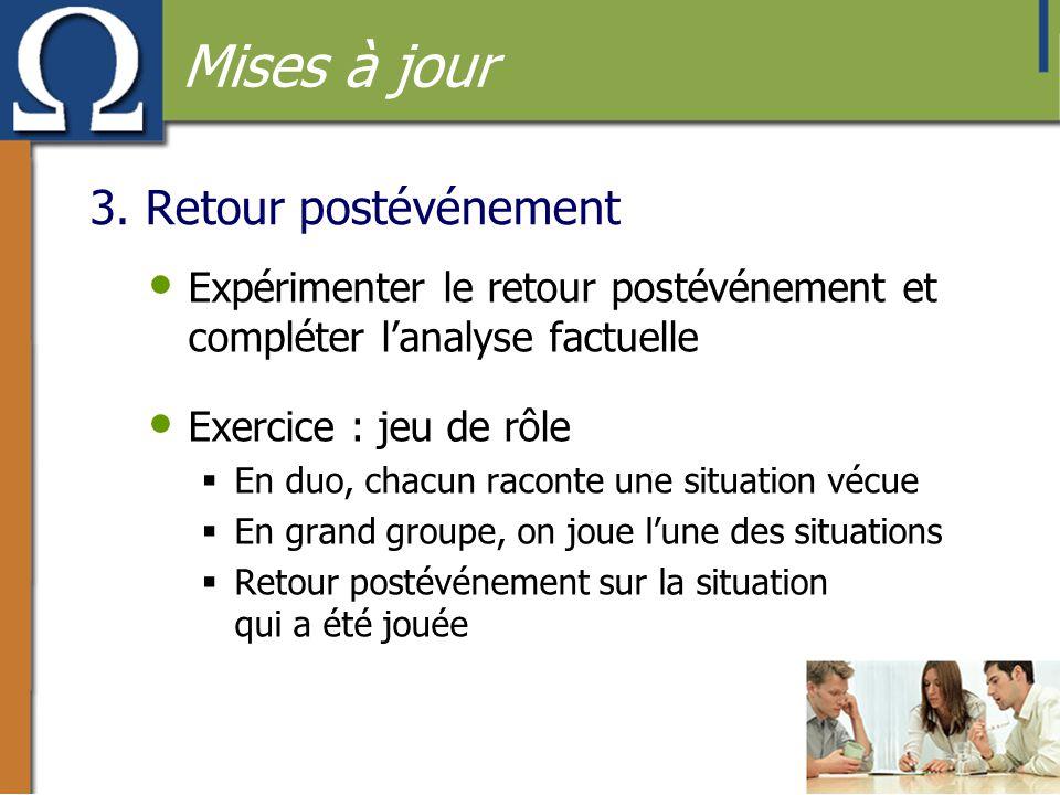 3. Retour postévénement • Expérimenter le retour postévénement et compléter l'analyse factuelle • Exercice : jeu de rôle  En duo, chacun raconte une