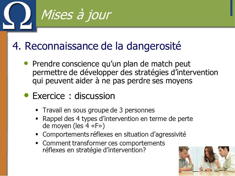 4. Reconnaissance de la dangerosité • Prendre conscience qu'un plan de match peut permettre de développer des stratégies d'intervention qui peuvent ai