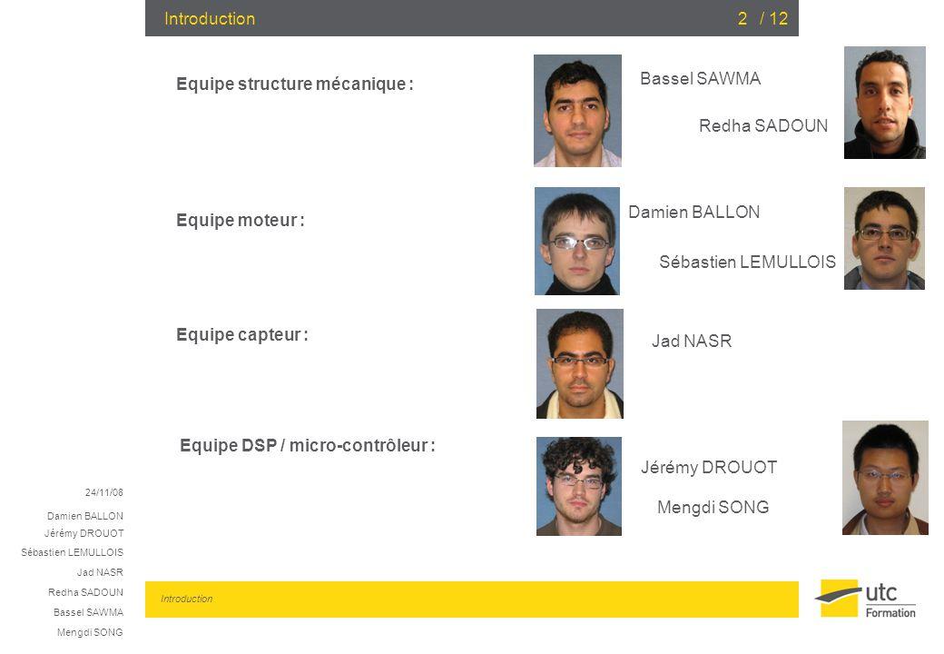 24/11/08 Damien BALLON Jérémy DROUOT Sébastien LEMULLOIS Jad NASR Redha SADOUN Bassel SAWMA Mengdi SONG / 122 Equipe DSP / micro-contrôleur : Introduc