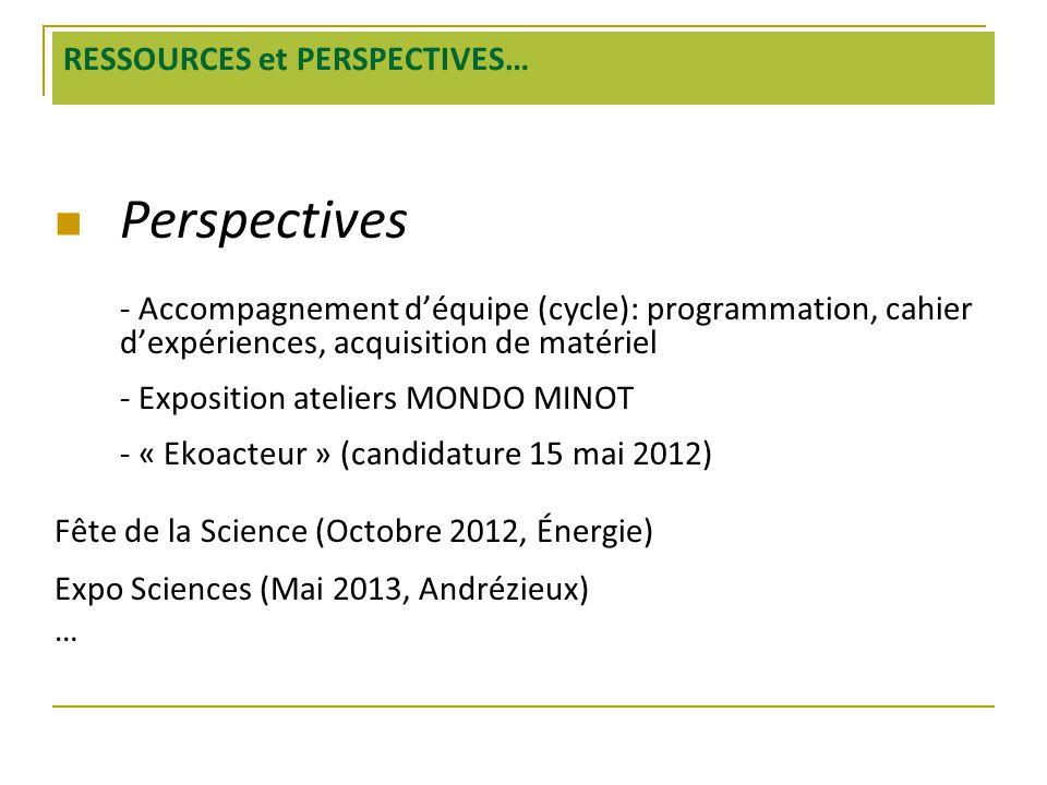 RESSOURCES et PERSPECTIVES…  Perspectives - Accompagnement d'équipe (cycle): programmation, cahier d'expériences, acquisition de matériel - Expositio