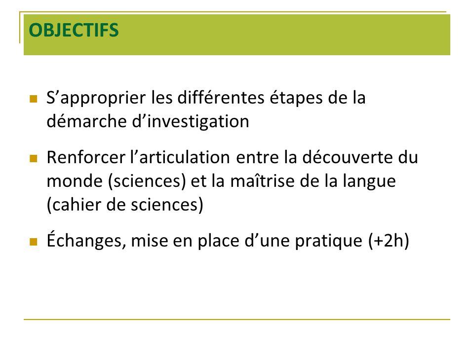 OBJECTIFS  S'approprier les différentes étapes de la démarche d'investigation  Renforcer l'articulation entre la découverte du monde (sciences) et la maîtrise de la langue (cahier de sciences)  Échanges, mise en place d'une pratique (+2h)