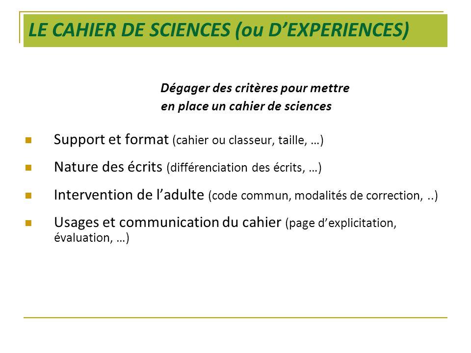 LE CAHIER DE SCIENCES (ou D'EXPERIENCES) Dégager des critères pour mettre en place un cahier de sciences  Support et format (cahier ou classeur, tail