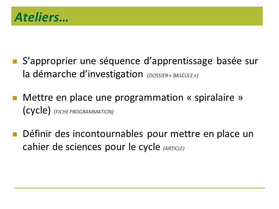 Ateliers…  S'approprier une séquence d'apprentissage basée sur la démarche d'investigation (DOSSIER « BASCULE »)  Mettre en place une programmation « spiralaire » (cycle) (FICHE PROGRAMMATION)  Définir des incontournables pour mettre en place un cahier de sciences pour le cycle (ARTICLE)