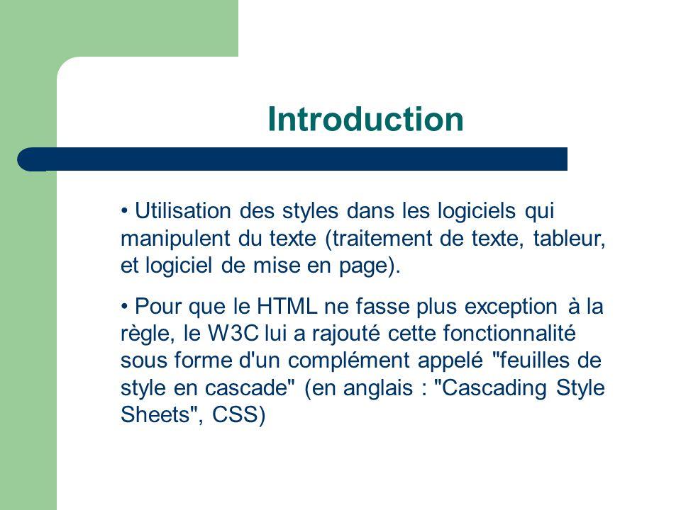 Introduction • Utilisation des styles dans les logiciels qui manipulent du texte (traitement de texte, tableur, et logiciel de mise en page).