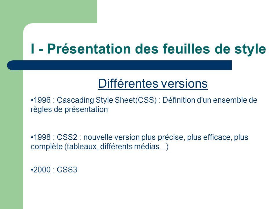 I - Présentation des feuilles de style Différentes versions •1996 : Cascading Style Sheet(CSS) : Définition d un ensemble de règles de présentation •1998 : CSS2 : nouvelle version plus précise, plus efficace, plus complète (tableaux, différents médias...) •2000 : CSS3