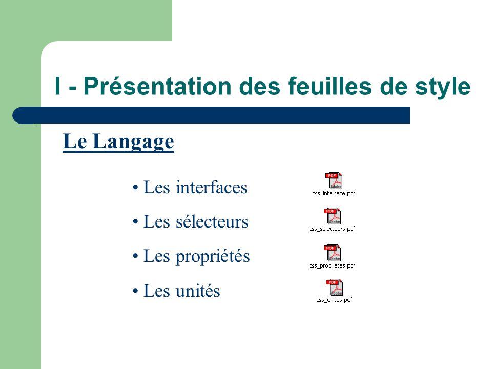 I - Présentation des feuilles de style Le Langage • Les interfaces • Les sélecteurs • Les propriétés • Les unités