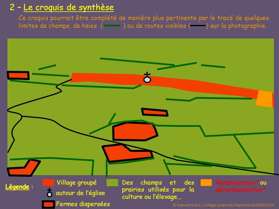 Légende : Des champs et des prairies utilisés pour la culture ou l'élevage… Rurbanisation* ou périurbanisation* Village groupé Fermes dispersées autou