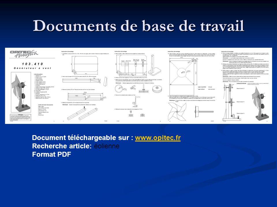 Documents de base de travail Document téléchargeable sur : www.opitec.frwww.opitec.fr Recherche article: éolienne Format PDF