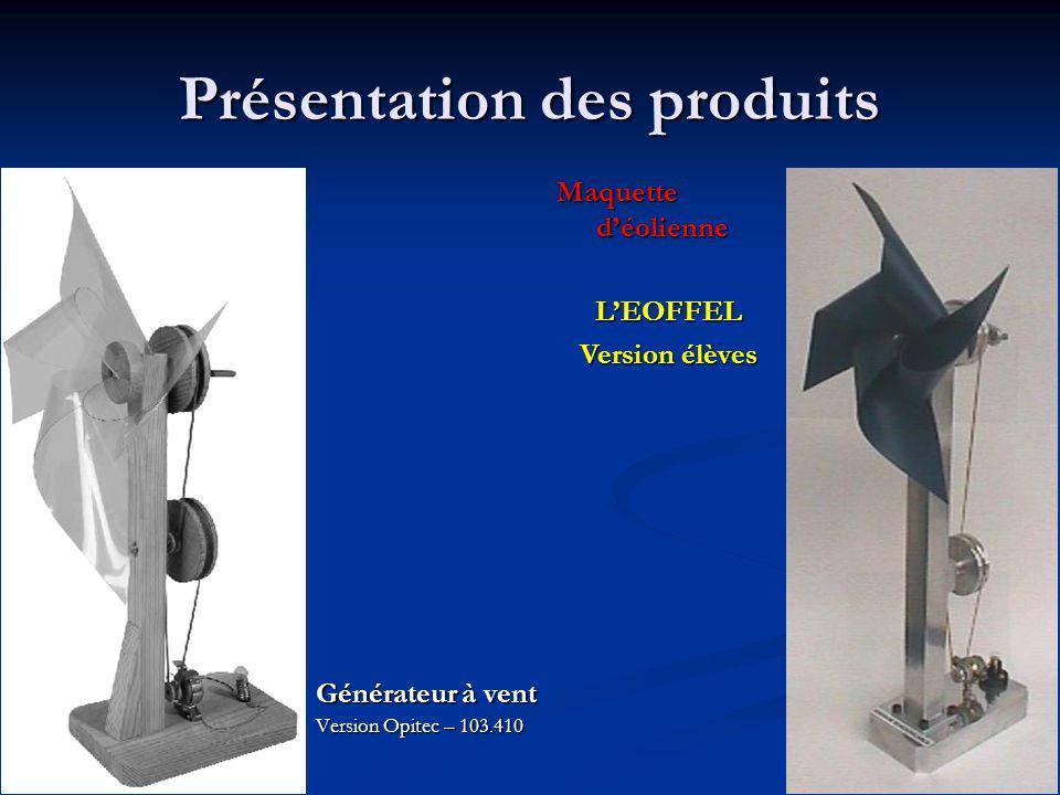 Présentation des produits Générateur à vent Version Opitec – 103.410 Maquette d'éolienne L'EOFFEL Version élèves