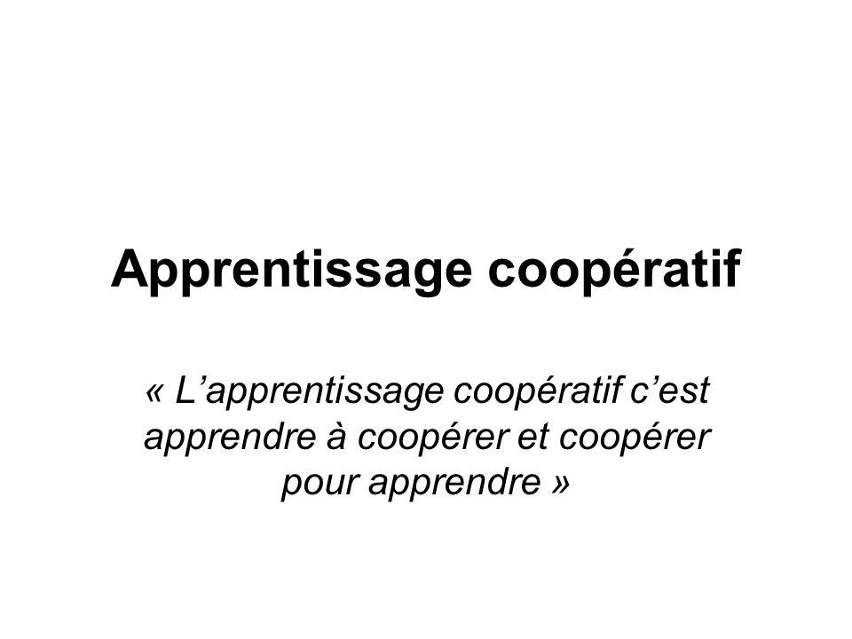 Apprentissage coopératif « L'apprentissage coopératif c'est apprendre à coopérer et coopérer pour apprendre »