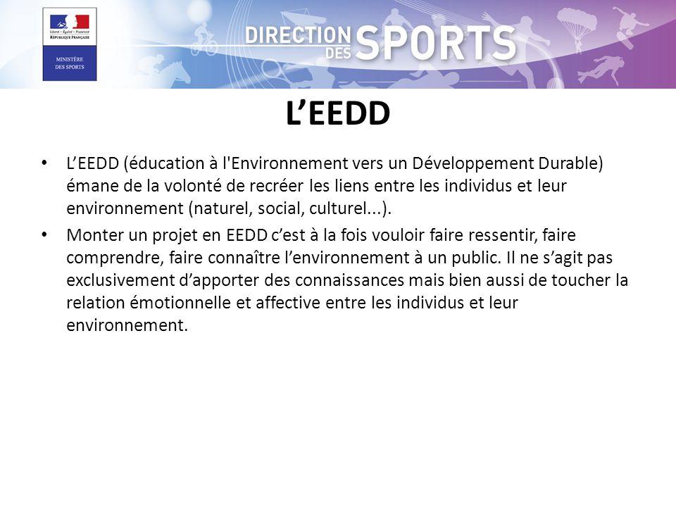 L'EEDD • L'EEDD (éducation à l'Environnement vers un Développement Durable) émane de la volonté de recréer les liens entre les individus et leur envir