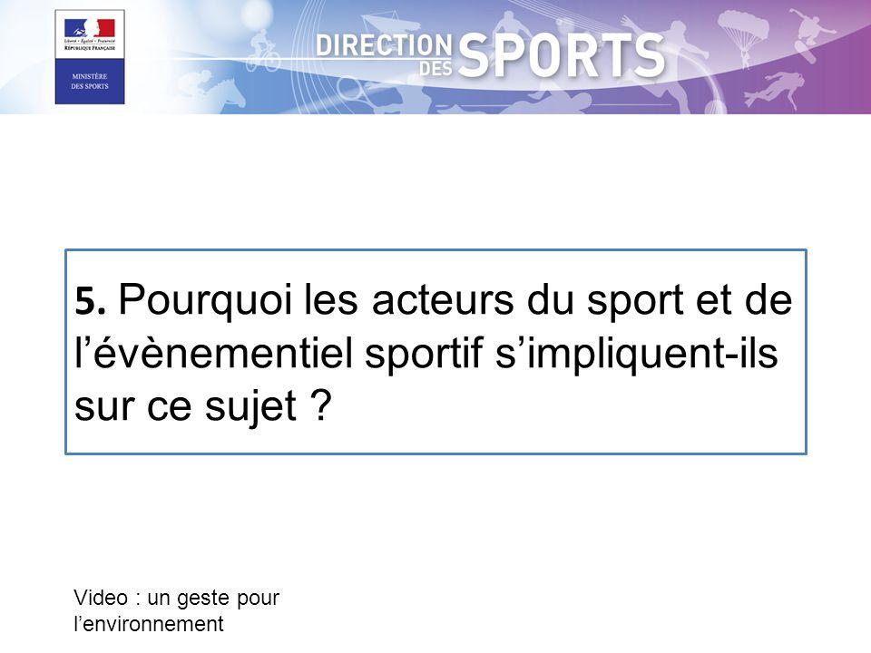 Video : un geste pour l'environnement 5. Pourquoi les acteurs du sport et de l'évènementiel sportif s'impliquent-ils sur ce sujet ?