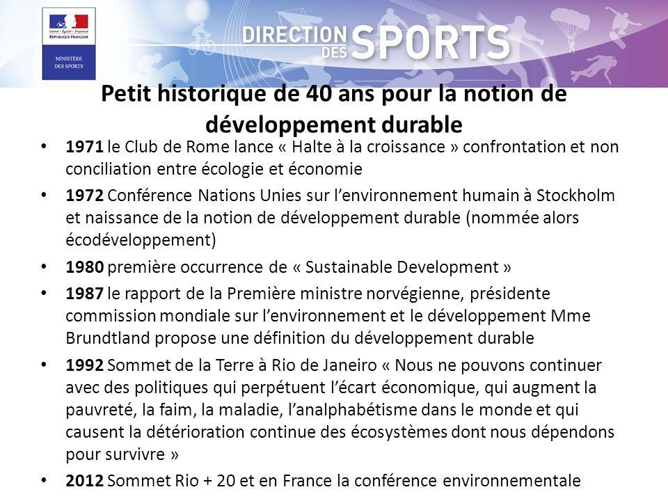 Petit historique de 40 ans pour la notion de développement durable • 1971 le Club de Rome lance « Halte à la croissance » confrontation et non concili