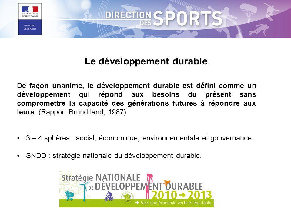 Inciter et accompagner tous les acteurs du sport (Mouvement sportif, organismes privés, services déconcentrés, établissements publics, Collectivités, Etat) à prendre en compte le principe du développement durable dans leurs stratégies et leurs politiques.