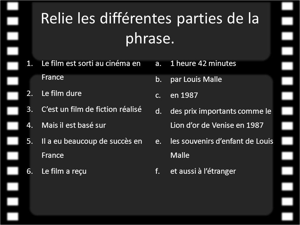 Relie les différentes parties de la phrase. 1.Le film est sorti au cinéma en France 2.Le film dure 3.C'est un film de fiction réalisé 4.Mais il est ba
