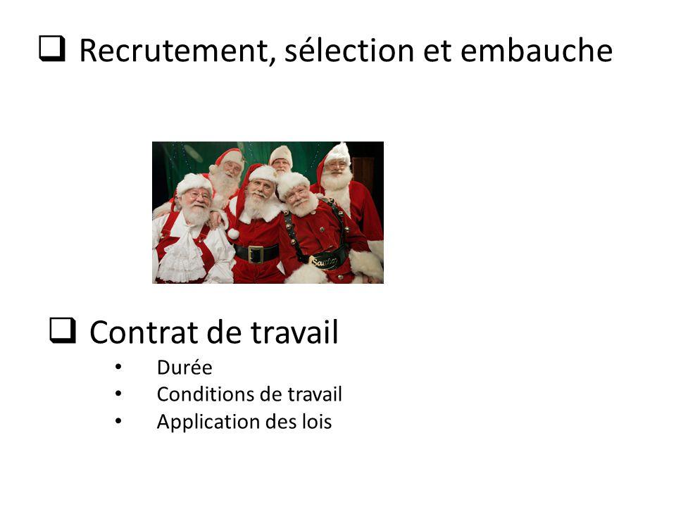  Recrutement, sélection et embauche  Contrat de travail • Durée • Conditions de travail • Application des lois