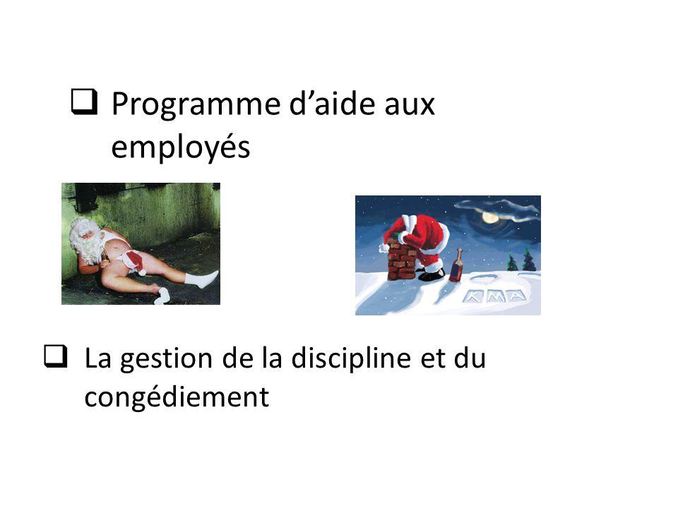  La gestion de la discipline et du congédiement  Programme d'aide aux employés