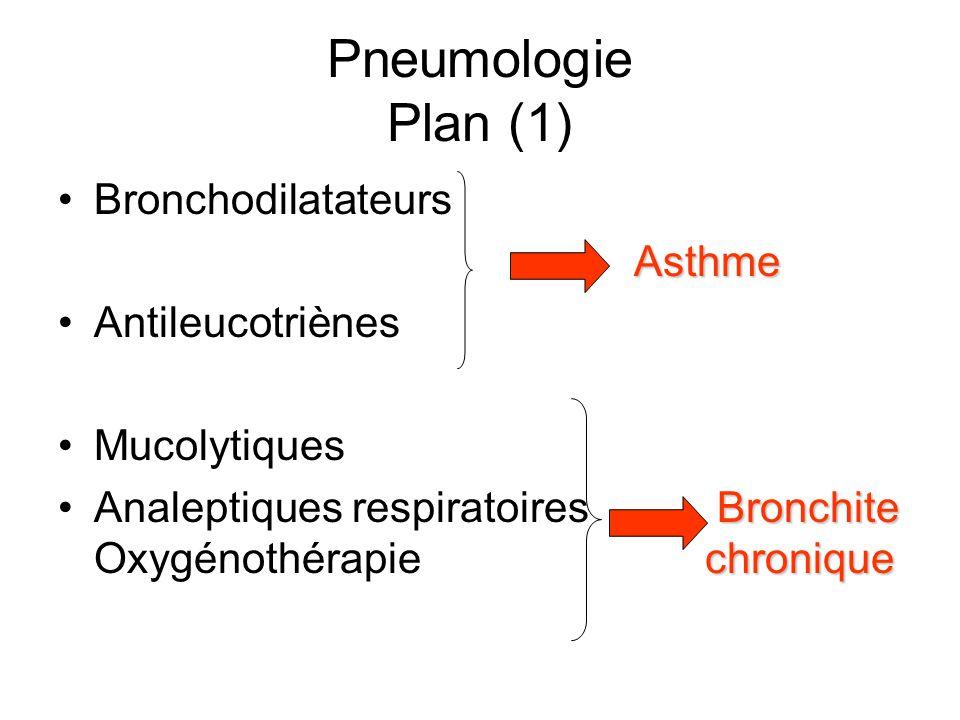 Pneumologie Plan (1) •BronchodilatateursAsthme •Antileucotriènes •Mucolytiques Bronchite chronique •Analeptiques respiratoires Bronchite Oxygénothérap