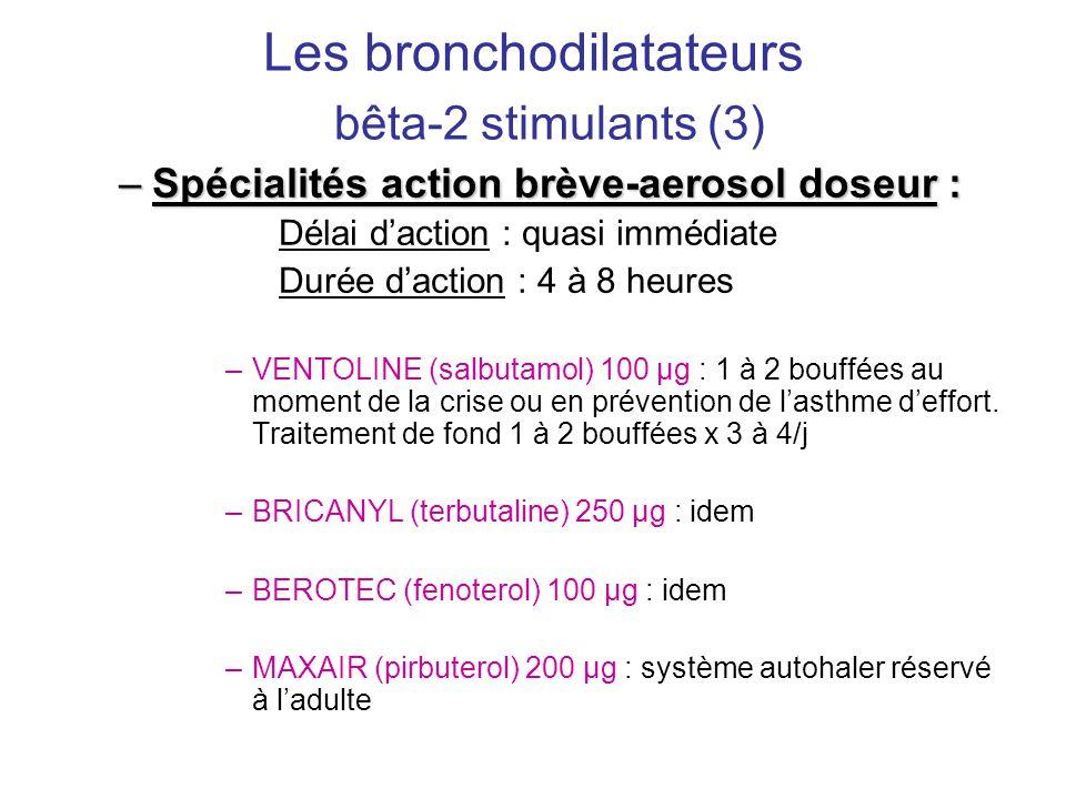 Les bronchodilatateurs bêta-2 stimulants (3) –Spécialités action brève-aerosol doseur : Délai d'action : quasi immédiate Durée d'action : 4 à 8 heures