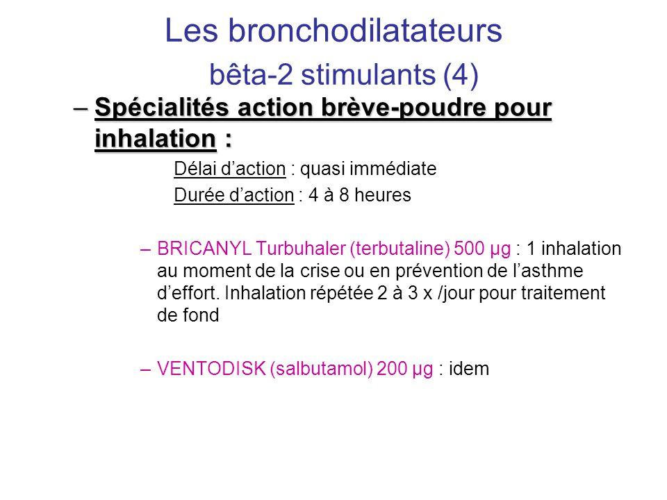 Les bronchodilatateurs bêta-2 stimulants (4) –Spécialités action brève-poudre pour inhalation : Délai d'action : quasi immédiate Durée d'action : 4 à