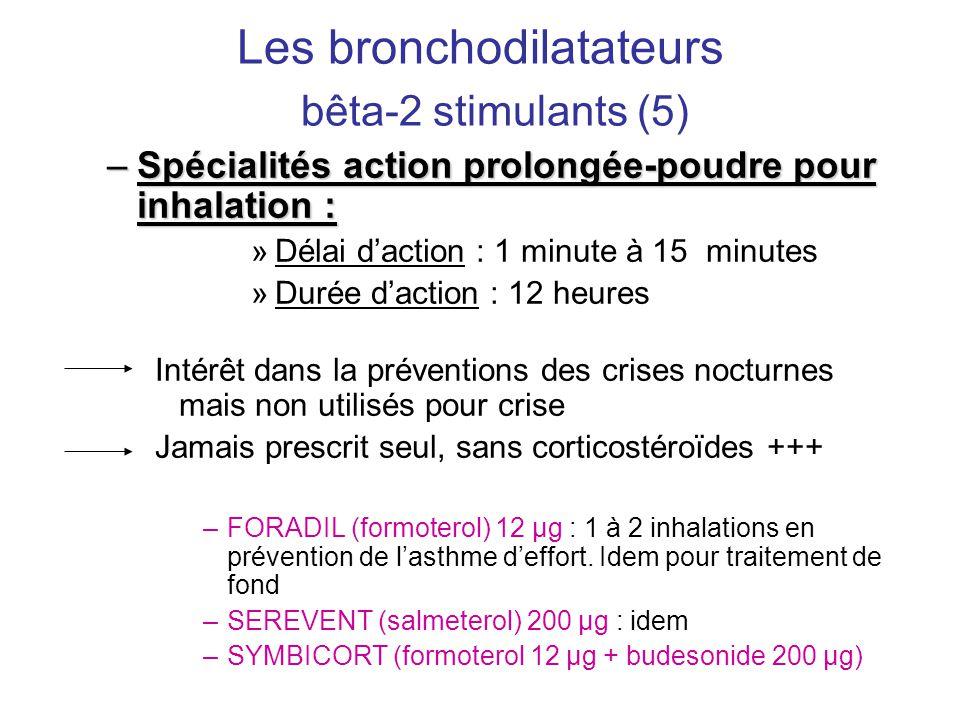 Les bronchodilatateurs bêta-2 stimulants (5) –Spécialités action prolongée-poudre pour inhalation : »Délai d'action : 1 minute à 15 minutes »Durée d'a
