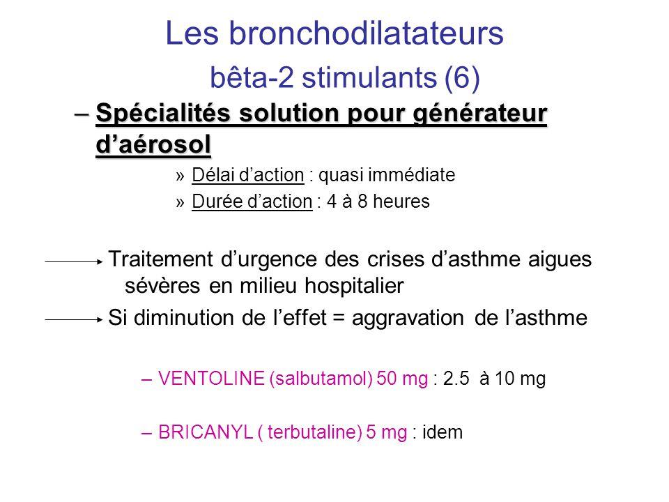 Les bronchodilatateurs bêta-2 stimulants (6) –Spécialités solution pour générateur d'aérosol »Délai d'action : quasi immédiate »Durée d'action : 4 à 8