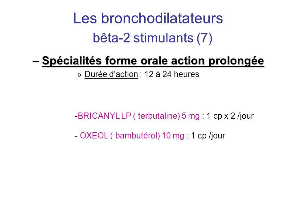 Les bronchodilatateurs bêta-2 stimulants (7) –Spécialités forme orale action prolongée »Durée d'action : 12 à 24 heures -BRICANYL LP ( terbutaline) 5