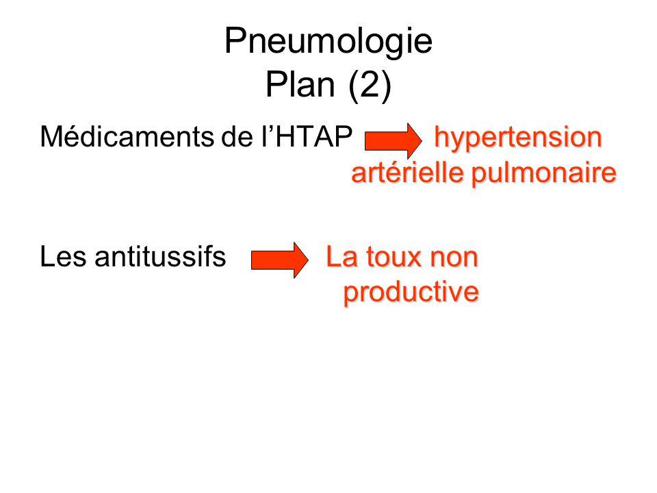 Pneumologie Plan (2) hypertension artérielle pulmonaire Médicaments de l'HTAPhypertension artérielle pulmonaire La toux non productive Les antitussifs