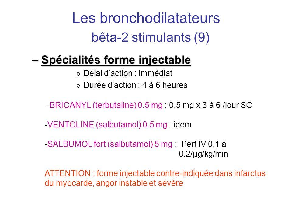 Les bronchodilatateurs bêta-2 stimulants (9) –Spécialités forme injectable »Délai d'action : immédiat »Durée d'action : 4 à 6 heures - BRICANYL (terbu