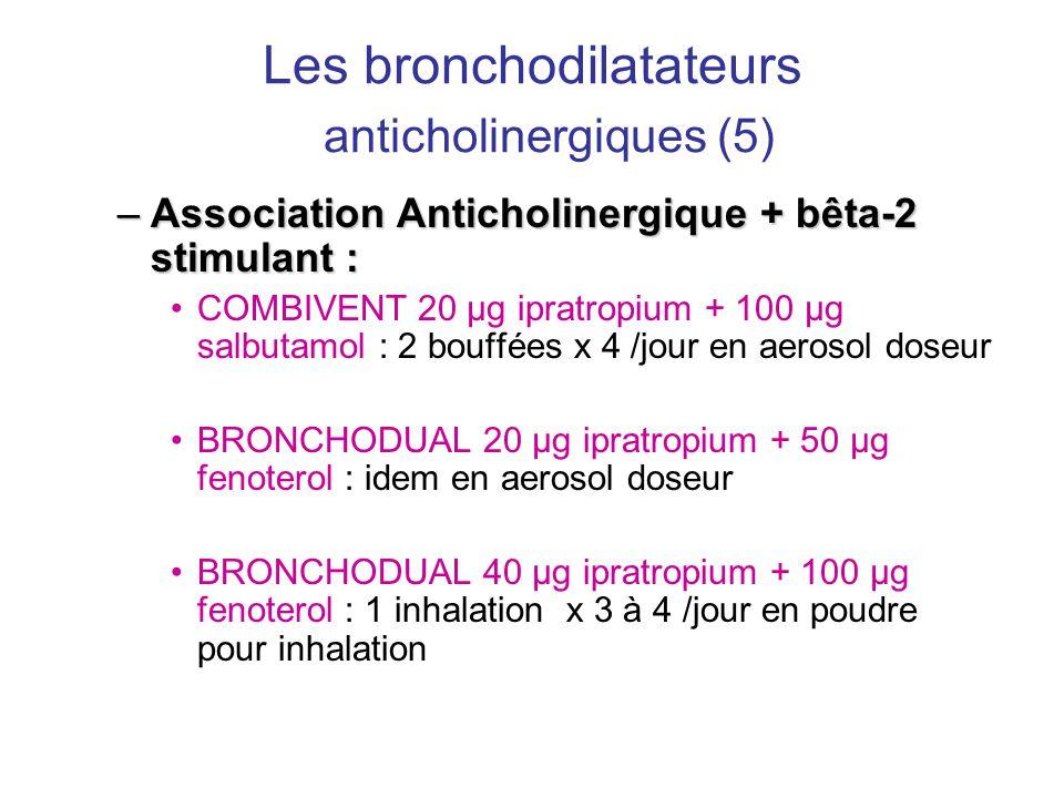 Les bronchodilatateurs anticholinergiques (5) –Association Anticholinergique + bêta-2 stimulant : •COMBIVENT 20 µg ipratropium + 100 µg salbutamol : 2