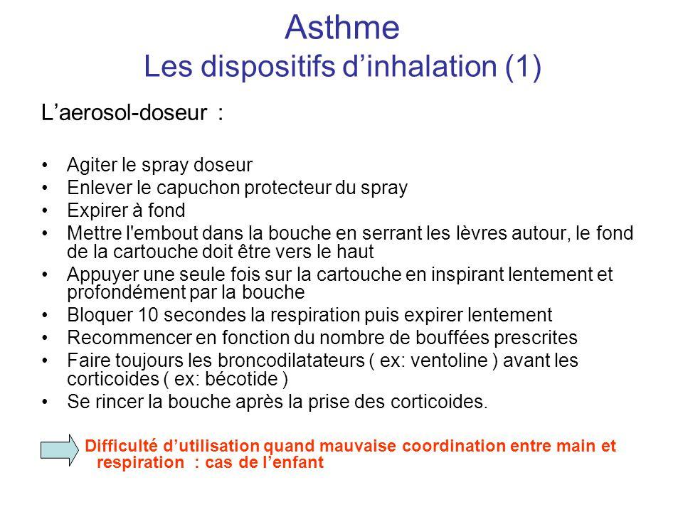 Asthme Les dispositifs d'inhalation (1) L'aerosol-doseur : •Agiter le spray doseur •Enlever le capuchon protecteur du spray •Expirer à fond •Mettre l'