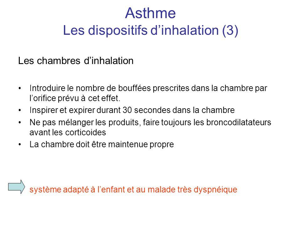 Asthme Les dispositifs d'inhalation (3) Les chambres d'inhalation •Introduire le nombre de bouffées prescrites dans la chambre par l'orifice prévu à c