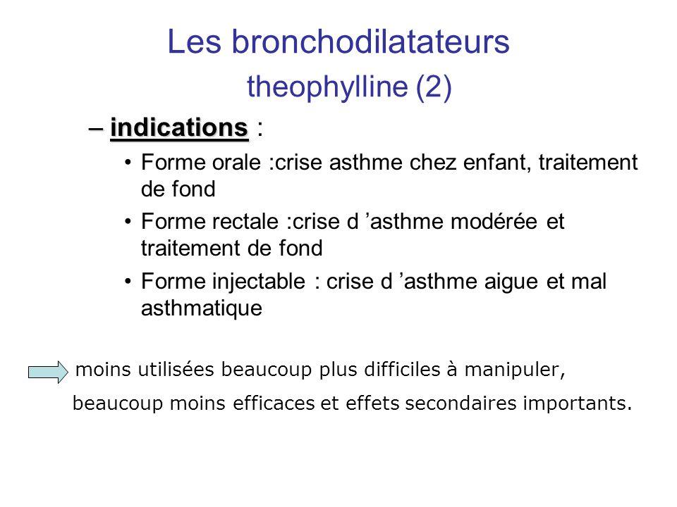 Les bronchodilatateurs theophylline (2) –indications –indications : •Forme orale :crise asthme chez enfant, traitement de fond •Forme rectale :crise d