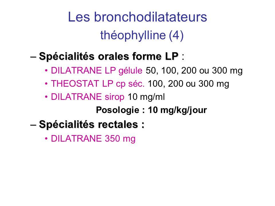 Les bronchodilatateurs théophylline (4) –Spécialités orales forme LP –Spécialités orales forme LP : •DILATRANE LP gélule 50, 100, 200 ou 300 mg •THEOS